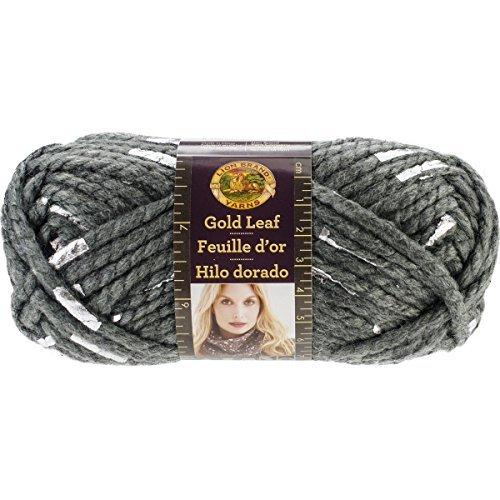 Lion Brand Yarn 231-171 Gold Leaf Yarn, Grey/Silver, 3 Balls of Yarn -