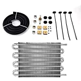 Aramox Oil Cooler Radiator, Car 8 Row Remote Transmission Oil Cooler Kit Auto-Manual Radiator Converter