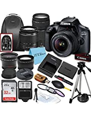 $614 » Canon EOS 4000D / Rebel T100 DSLR Camera with EF-S 18-55mm & 75-300mm Lens + 32GB SanDisk Memory Card, Tripod, Flash, Backpack + ZeeTech Accessory Bundle
