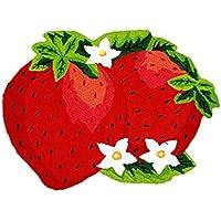 USTIDE Handmade Red Strawberry Kids Rug Non-Slip Doormat Bathmat 1.97 ft x 2.62 ft