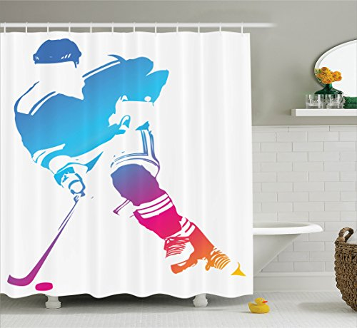 Ambesonne Sports Decor Collection, Colorful Man Figure Silhouette of a Hockey Player Athlete Racing Team Design, Polyester Fabric Bathroom Shower Curtain, 84 Inches Extra Long, Blue Magenta (Sports Silhouettes)