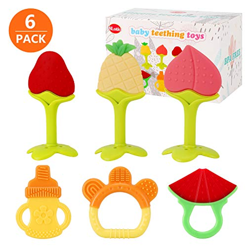 SLotic Baby Teething Toys 6 Pack – Silicone BPA Free Natural Organic Freezer Safe Teethers for Newborn Infant, Soft & Textured – Babies Shower Gift