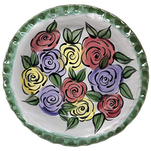 MudWorks Pottery Flora 9.5-inch Pie Plate with Fluted Rim (Flora Rim)