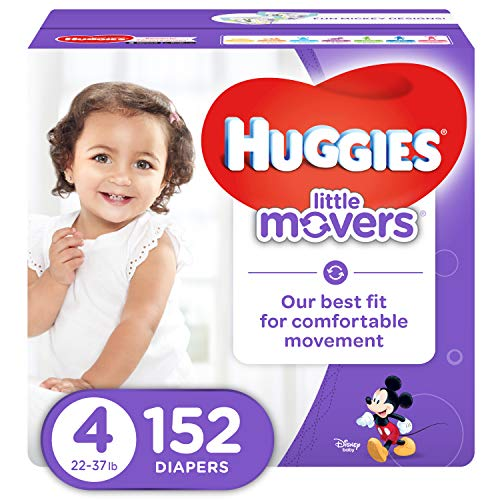 HUGGIES LITTLE MOVERS Active Baby Diapers, Size 4 (fits 22-37 lb.), 152 Ct, ECONOMY PLUS (Packaging May Vary) (Huggies Little Movers Diaper Pants Size 4)
