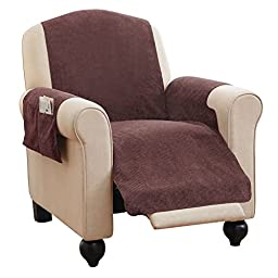 Faux Chenille Recliner Furniture Protector Cover with Pockets, Brown, Solid, Chenille, Polyester