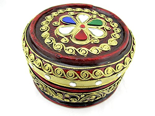 Blue Orchid Thai Handmade Round Wooden Trinket Jeweled Jewelry Box with Lid 5'' (Ruby) by Blue Orchid