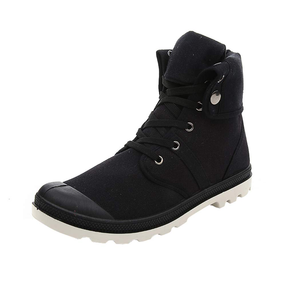 【MOHOLL】 Men's Outdoor Breathable Hiking Boot Camping Backpacking Shoes Lace-Up Canvas Shoes Black