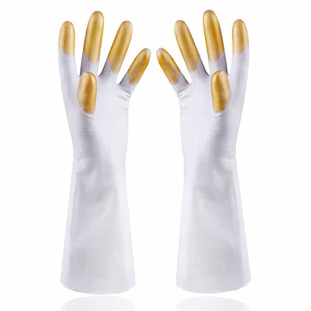 RenShiMinShop Waterproof and oilproof thin gloves PVC smart and durable kitchen multifunctional gloves (Color : Yellow)
