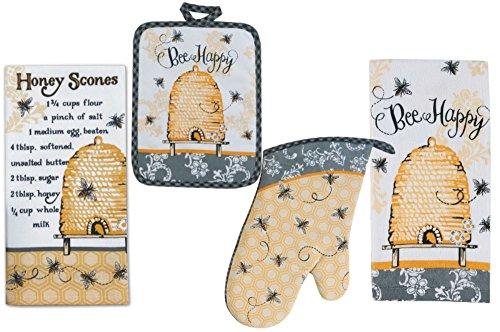 Bee Happy Kitchen Linens Set: Bundle Includes 1 Oven Mitt, 1 Potholder, 2 Kitchen Towels - Queen Bee Design