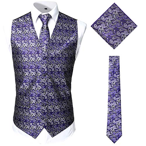 (JOGAL Men's 3pc Paisley Vest Necktie Pocket Square Set for Suit or Tuxedo XX-Large SV08 PurpleSilver)