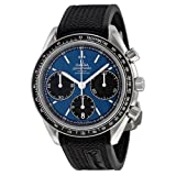 omega rubber watch - Omega Speedmaster Racing Automatic Chronograph Blue Dial Stainless Steel Mens Watch 32632405003001