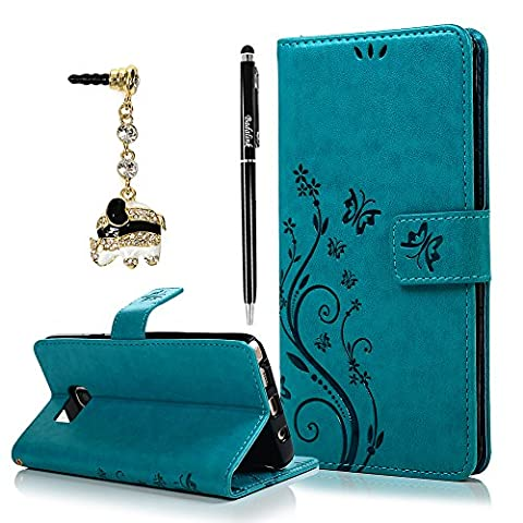Note 5 Case, Samsung Galaxy Note 5 Case - Badalink Fashion Wallet Purse PU Leather Embossed Flowers Butterfly [Card Holders] Flip Cover with Hand Strap & 3D Cute Elephant Dust Plug & Stylus Pen - (Galaxy 3 Phone Flip Cases)