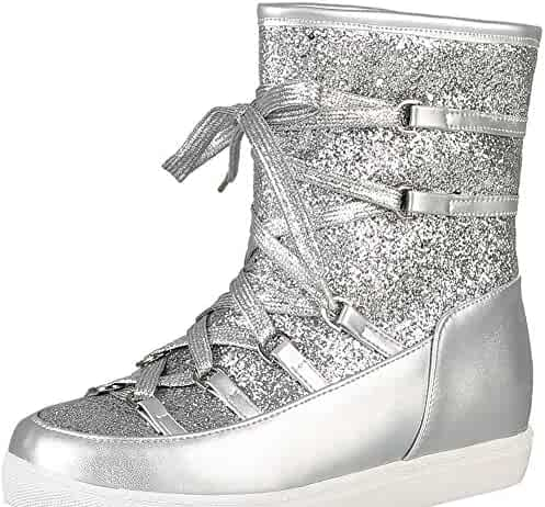 adf554d888ed IDIFU Women s Comfort Sequins Round Toe Pull On Low Heels Lace Up Ankle  Boots