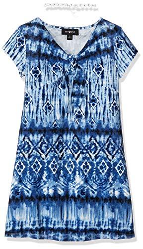 Amy Byer Girls' Big Short Sleeve Front Dress, Blue Diamond Striped tie Dye S