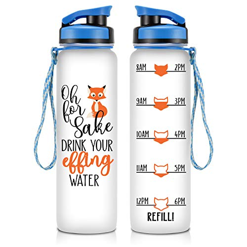(LEADO 32oz Motivational Water Bottle with Hourly Time Tracker - Tritan Plastic BPA Free - Workout Sports Fitness Hours Marked Bottle with Flip Top Lid - Drink More Water Daily - Hydration Tracker)