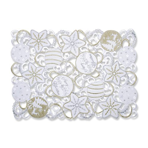 Pillow Perfect Ornaments Placemat (Set of 2), White-Silver