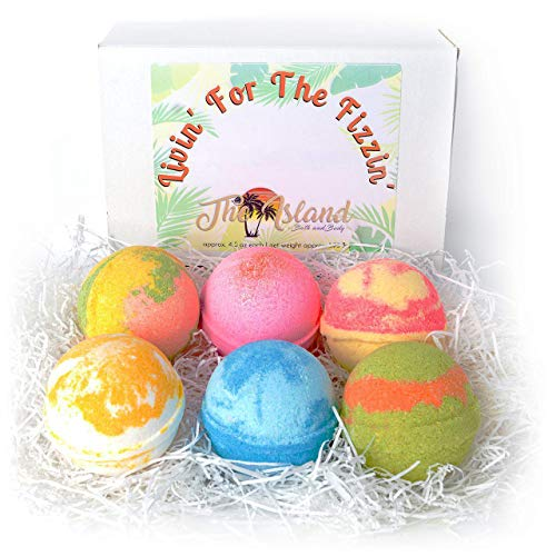 6 Large Bath Bomb Gift Set with Shea & Cocoa Butters- BEST GIFT YEAR ROUND- Made In USA