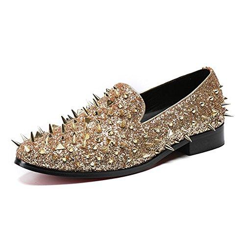 MSFS Hommes Chaussures Rivet Paillettes Spectacle De Loafer Robe Rock Mariage Banquet Danse Taille 38 À 46 Gold JCci5Lbb