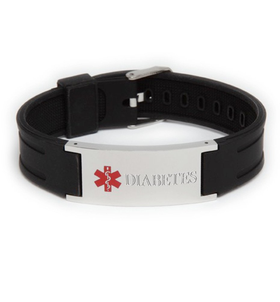 Amazon: Diabetes Black Silicone Adjustable Medical Id Bracelet: Health  & Personal Care
