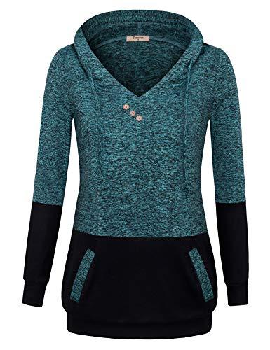 Timeson Long Sweatshirt Jacket, Women's Long Sleeve V Neck P