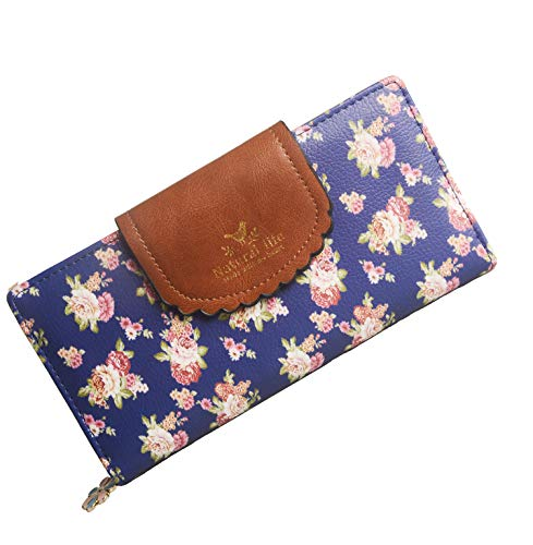 SeptCity Womens Wallet Cute Floral Soft Leather Clutch Gift for Her, 2071 (Twilight - Wallet Soft Womens