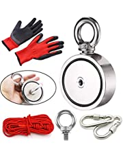 N52 Neodymium Magnet Fishing Kit 550LB Pulling Force Strong Rare Earth Magnet Bundle Pack Fishing Magnets with 65 Ft Rope , 2PCS Carabiner , Non Slip PVC Fishing Gloves , Eyebolt Heavy Duty Salvage Magnet for Retrieving in River Lake