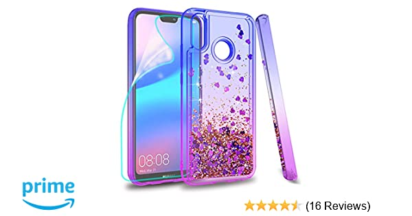 ZingCon suit for Huawei Nova 3E(not Nova 3) Phone Case,Huawei P20 Lite Glitter Case Quicksand Bling Adorable Shine,[HD Screen Protector] Shockproof ...