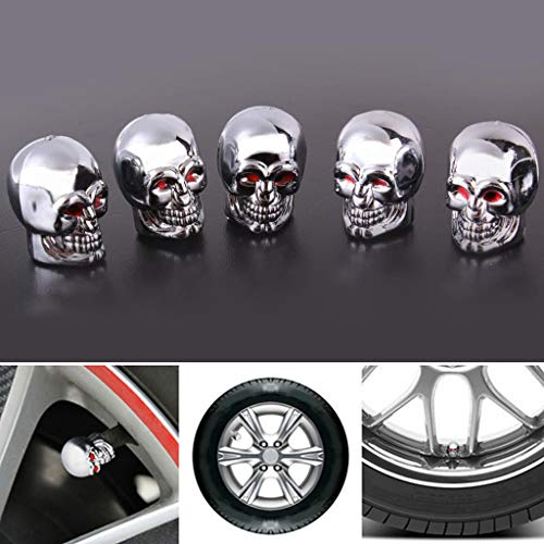 Beioust 5Pc Skull Tyre Tire Wheel Car Auto Valves Cap Dust Stem Cover BicycleMotocycle ()