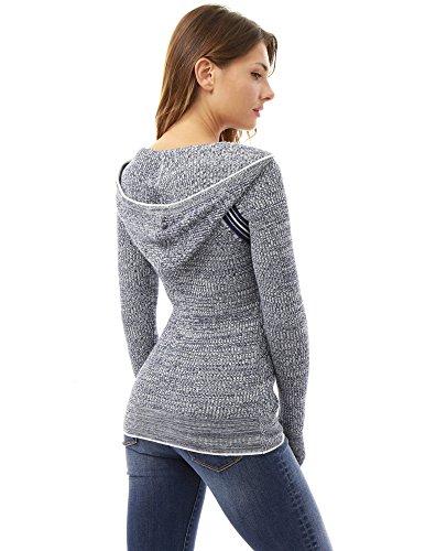 PattyBoutik Mujer marled suéter con capucha del raglán azul oscuro y blanco