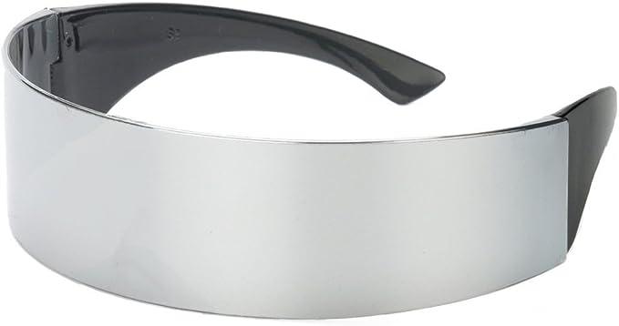Futuristic Silver Chrome Wrap Around Sunglasses