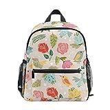 U LIFE Summer Spring Birds Floral Flowers Vintage Kids Backpack Bookbag Shoulder Schoolbag for Girls Boys