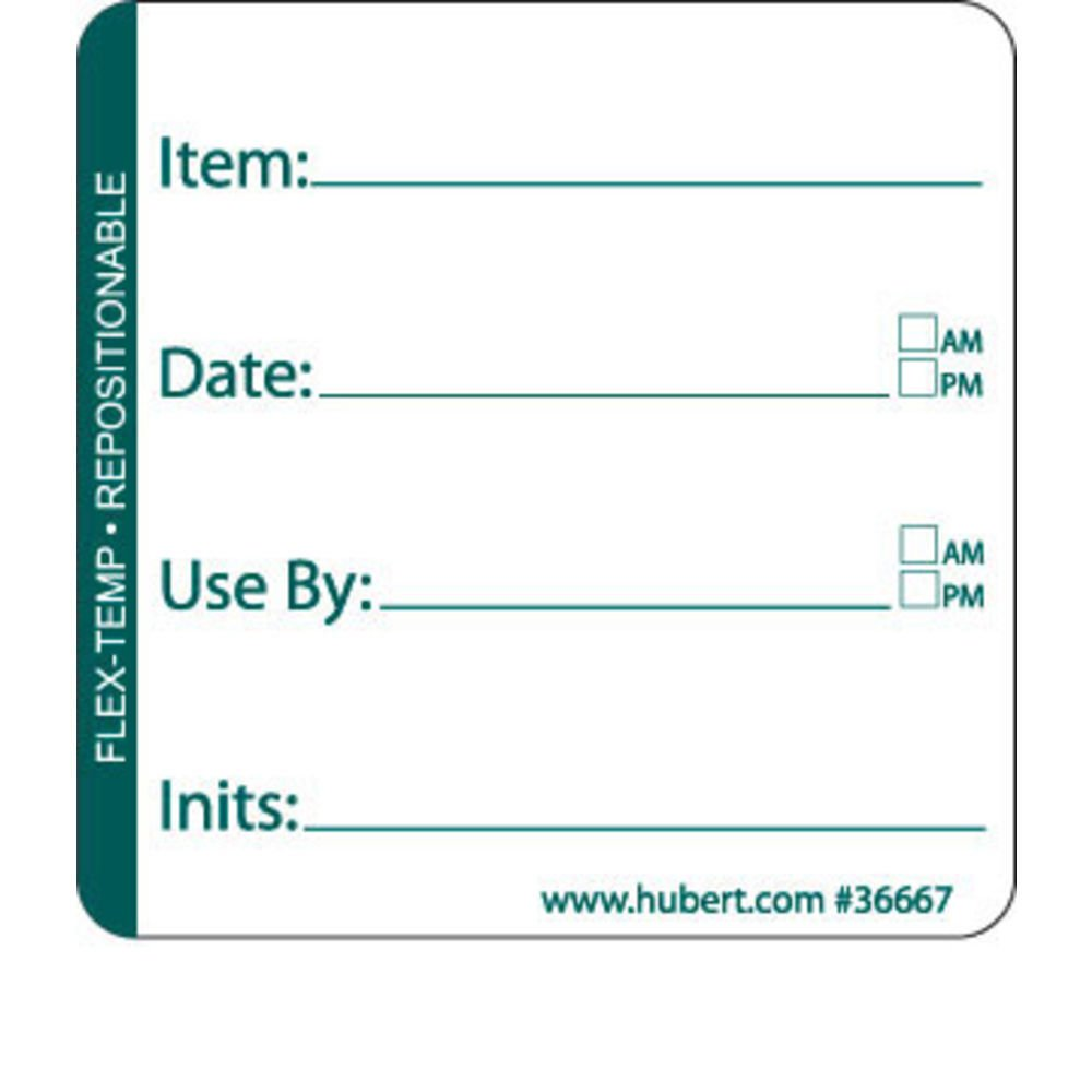 HUBERT Flex-Temp Use by Rotation Labels Green Imprint - 2''L x 2''H by HUBERT