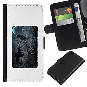 iBinBang / Flip Funda de Cuero Case Cover - Black Streetlamp Moon Rain Dark - Sony Xperia Z3 D6603 / D6633 / D6643 / D6653 / D6616