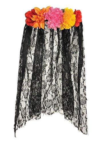 Suit Yourself Floral Black Lace Veil Halloween Costume Accessory for Women, Day of the Dead, One Size]()