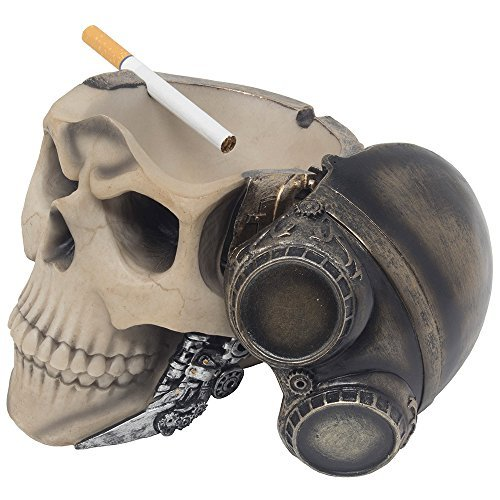 (Red Baron Fighter Pilot Skull Ashtray or Candy Bowl in Steampunk Style for Spooky Halloween Decorations and Bar or Gothic Decor in Smoking Room As Decorative Macabre Art Gifts for)