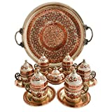 Copper Turkish Coffee Set, Six Greek Armenian Arabic Espresso Porcelain Cups Tray Sugar Bowl, with Silver-plate detail, Handcrafted by Mandalina Magic