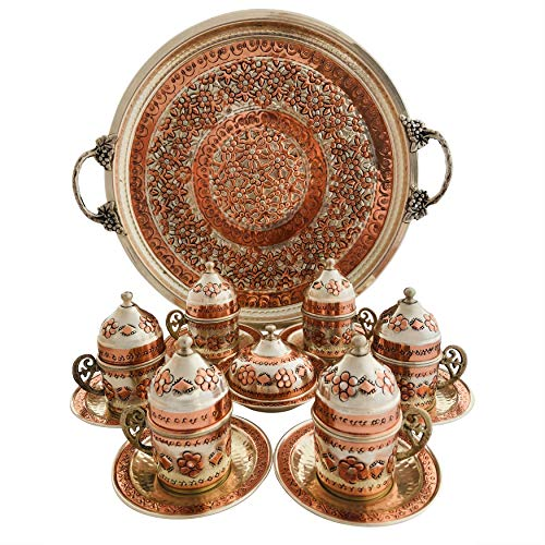 (Copper Turkish Coffee Set, Six Greek Armenian Arabic Espresso Porcelain Cups Tray Sugar Bowl, with Silver-plate detail, Handcrafted by Mandalina Magic)