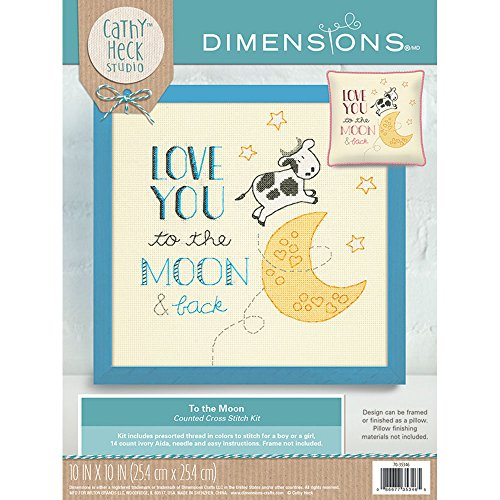 - Dimensions 70-35346 To The Moon Counted Cross Stitch Kit Baby Nursery Decoration,  10