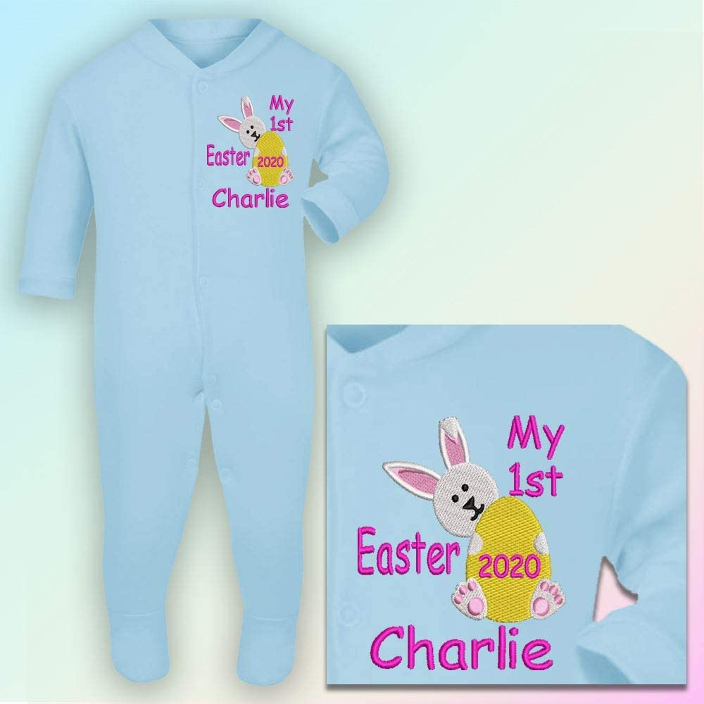 Hot Pink Thread Embroidered Sleepsuit in Baby Blue Personalised My 1st Easter 0-3 Months