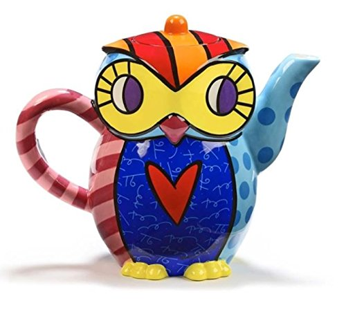 Ceramic Owl Design Teapot From Iconic Pop-artist Romero Britto. by Gift Craft