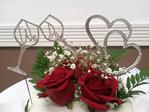 """DOUBLE CAKE TOPPER PACK """"WE DO"""" IN A WINE CUP AND DOUBLE HEARTS IN SILVER RHINESTONES"""