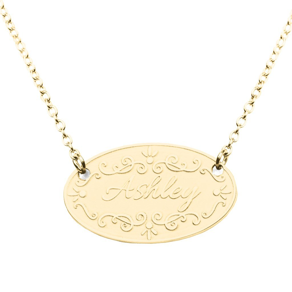 14K Gold Personalized Fancy Embossed Nameplate by JEWLR