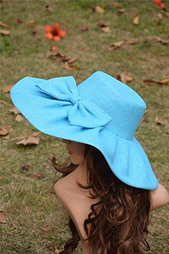 Hat Sun Church Blue Linen Womens A047 Derby Beach Wide Lawliet Kentucky Sky Summer Brim Sea 860wdq