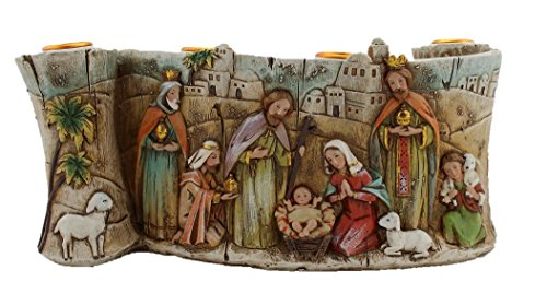 (Silent Night Collection Scroll Nativity Scene Advent Candle Holder Approx 11-inch long and 4.5-inch Height)