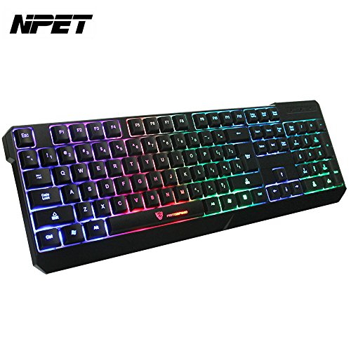 NPET Rainbow LED Backlit Wired Gaming Keyboard ,Professional Illuminated Computer Keyboard for