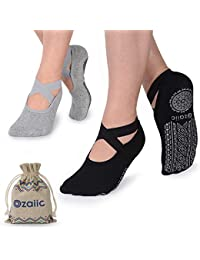 Yoga Socks for Women Non-Slip Grips & Straps, Ideal for...