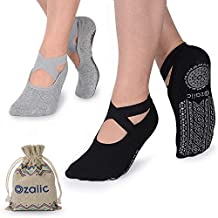Yoga Socks for Women Non-Slip Grips & Straps, Ideal for Pilates, Pure