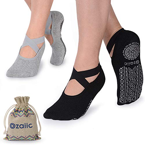 (Ozaiic Yoga Socks for Women Non-Slip Grips & Straps, Ideal for Pilates, Pure Barre, Ballet, Dance, Barefoot Workout)