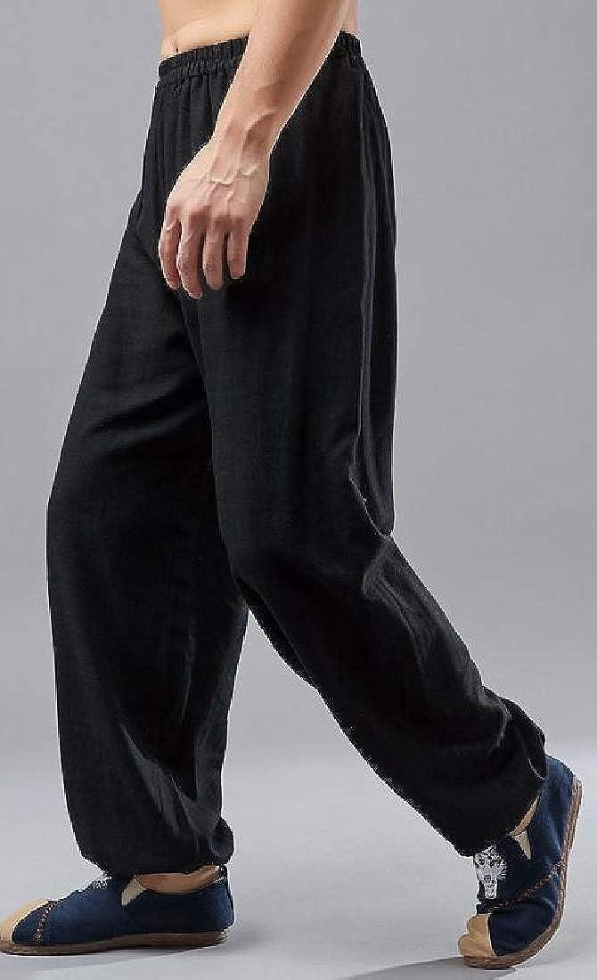 Hajotrawa Mens Yoga Elastic Waist Baggy Sport Straight Fit Cotton Linen Pants