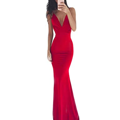 Women Long Fishtail Dress Sleeveless Deep V Neck Prom Gown Bridesmaid Party Dress Formal Cocktail (